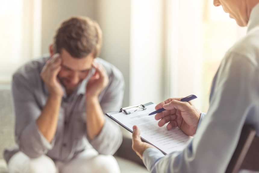 Patient speaking with a psychologist