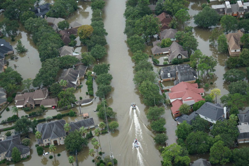 view from above of hurricane harvey flooding