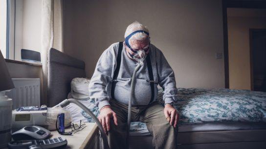 old man with CPAP