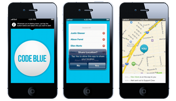 Code Blue is designed to provide teenagers struggling from depression or bullying with support when they need it. Users can choose several contacts to be part of their support group. With just a few taps, the app will alert the support group that the user needs immediate help. Members of the support group can then text or call the user. The app can also share the user's location with the support group, and members can indicate that they are on their way to see the user in person. Code Blue will be free and is expected to launch this spring on both iOS and Android.