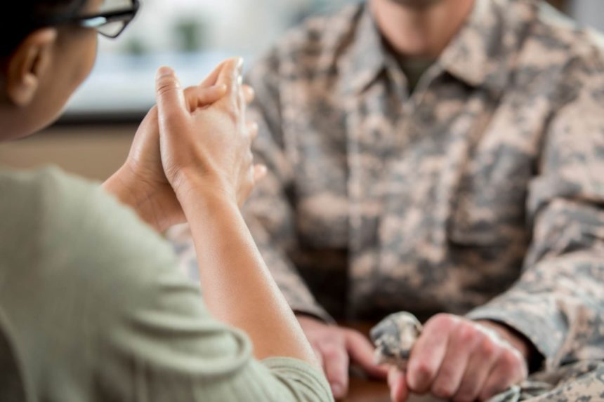 soldier with PTSD in therapy