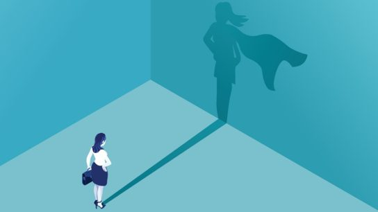 woman with superhero shadow