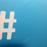 hashtag on a blue background