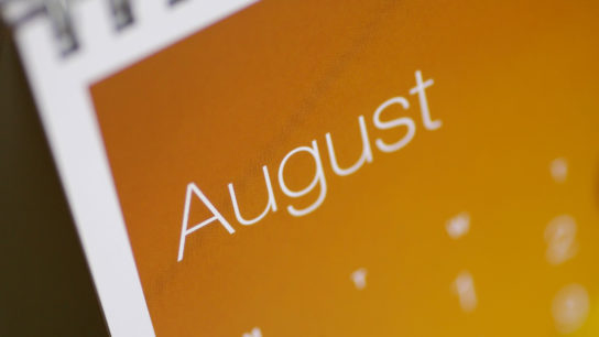 Month of August on a calendar.