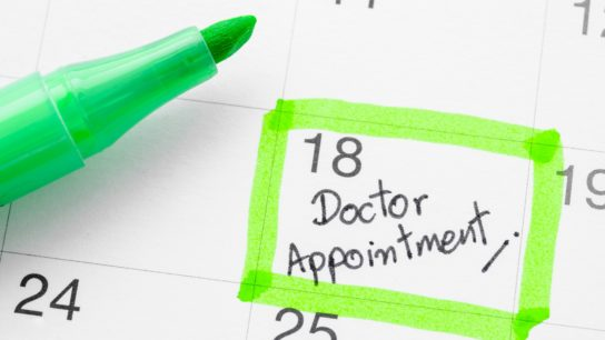 Appointment marked on calendar with highlighter