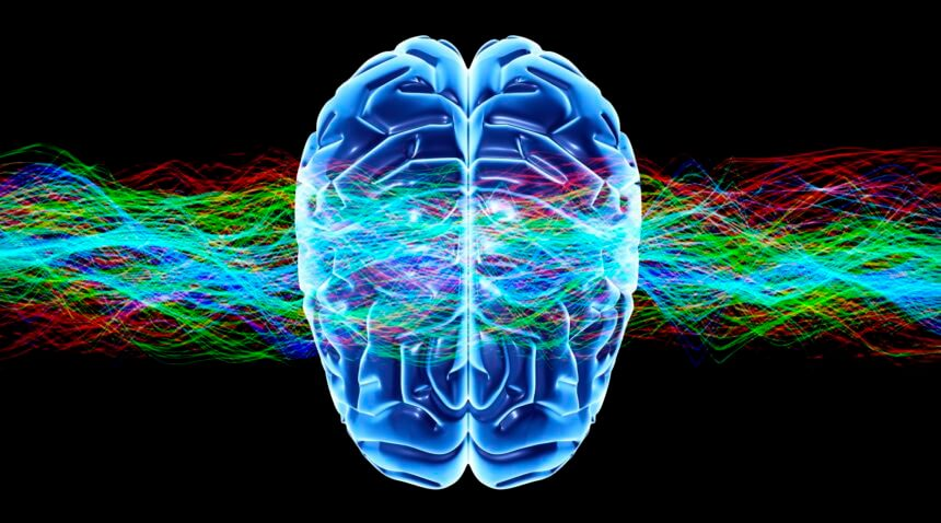 Image of brain and colorful waves