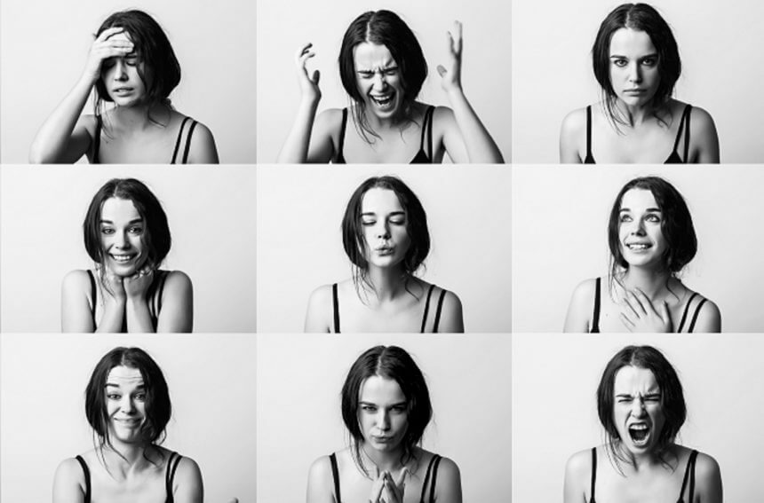 Different images of women doing different emotions.