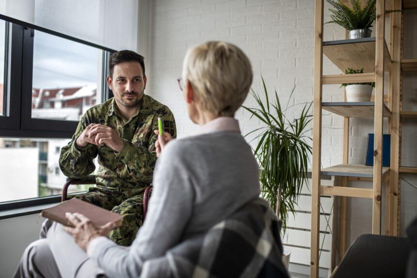 Depressed soldier in therapy