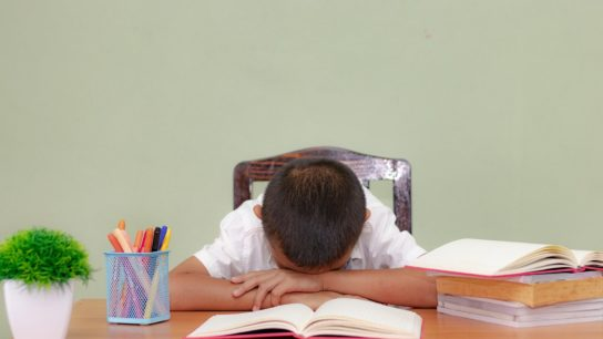 Child who has fallen asleep at a desk because he is tired.