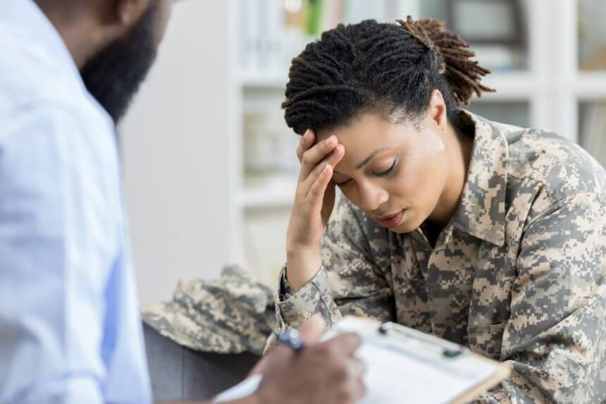 Stressed female veteran