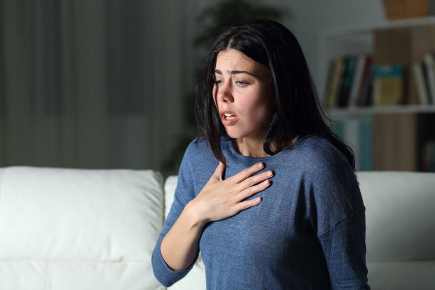 woman having anxiety attack